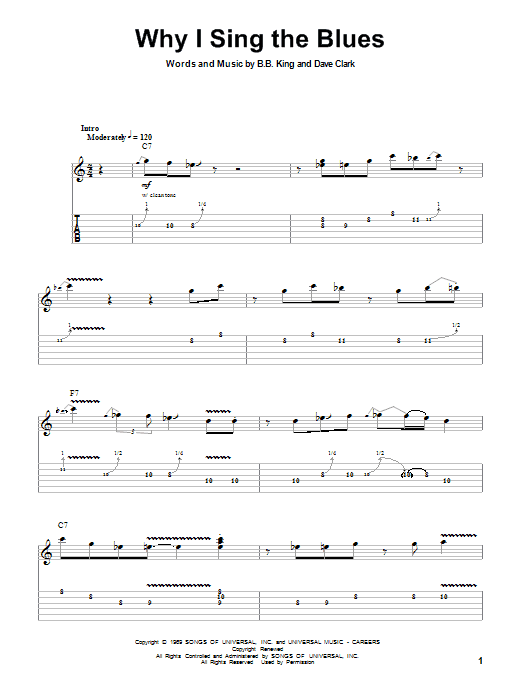 B.B. King Why I Sing The Blues sheet music preview music notes and score for Guitar Tab including 5 page(s)