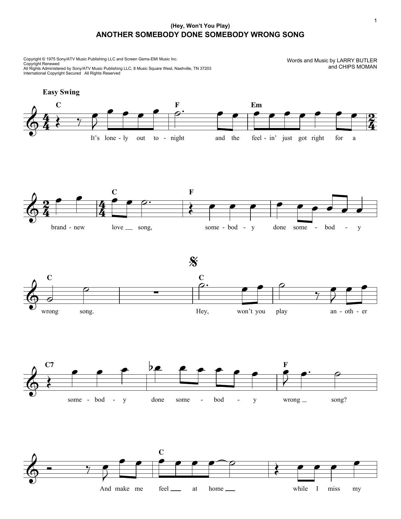 B.J. Thomas (Hey, Won't You Play) Another Somebody Done Somebody Wrong Song sheet music preview music notes and score for Piano, Vocal & Guitar (Right-Hand Melody) including 3 page(s)