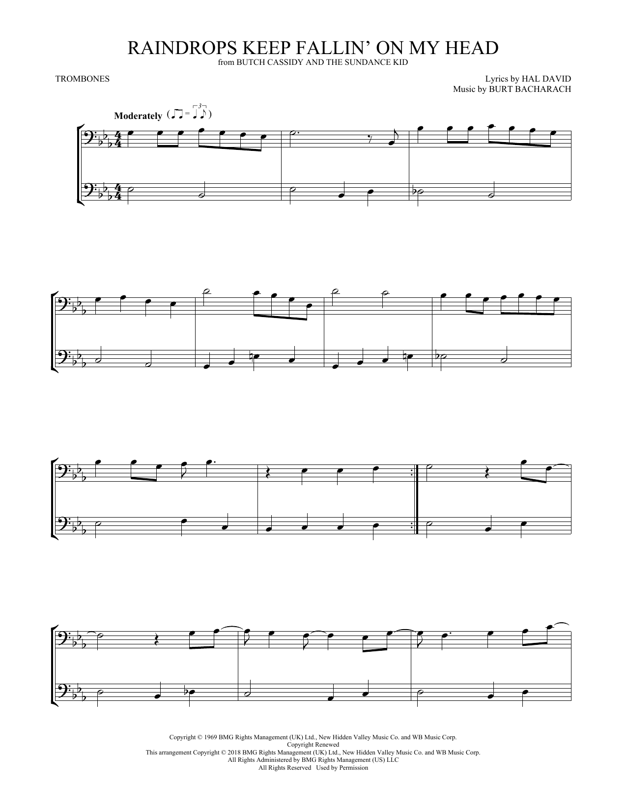 B.J. Thomas Raindrops Keep Fallin' On My Head sheet music preview music notes and score for Easy Piano including 3 page(s)