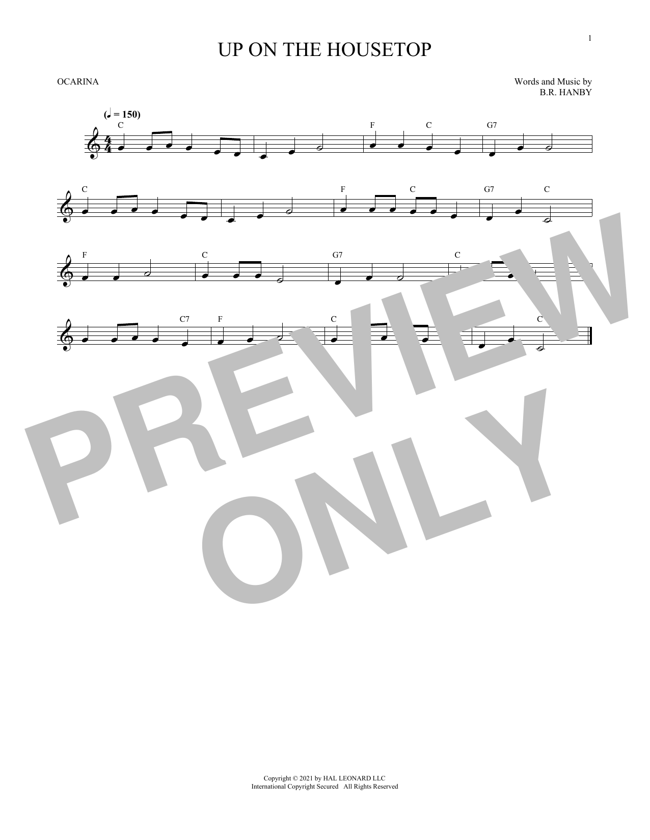 B.R. Hanby Up On The Housetop sheet music preview music notes and score for Piano (Big Notes) including 3 page(s)