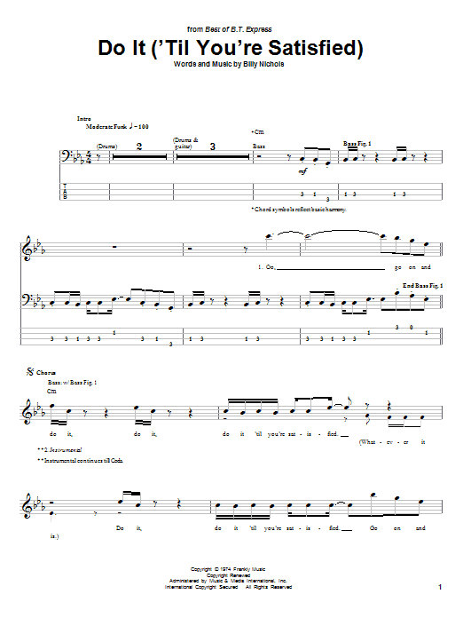 B.T. Express Do It ('Til You're Satisfied) sheet music preview music notes and score for Bass Guitar Tab including 9 page(s)