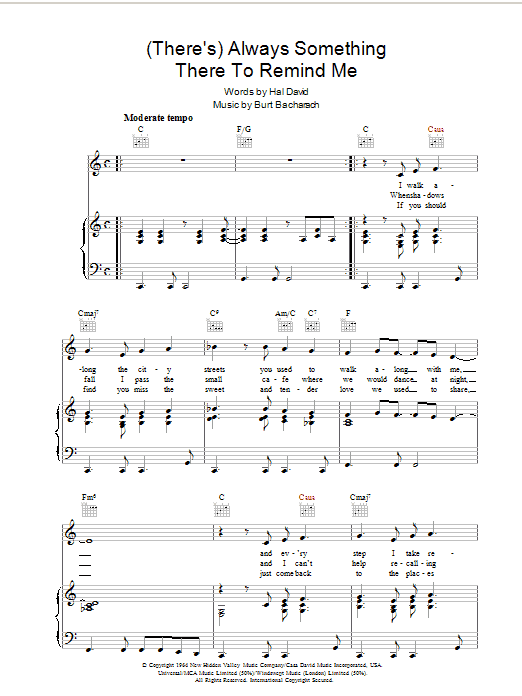 Bacharach & David (There's) Always Something There To Remind Me sheet music preview music notes and score for Piano, Vocal & Guitar (Right-Hand Melody) including 4 page(s)