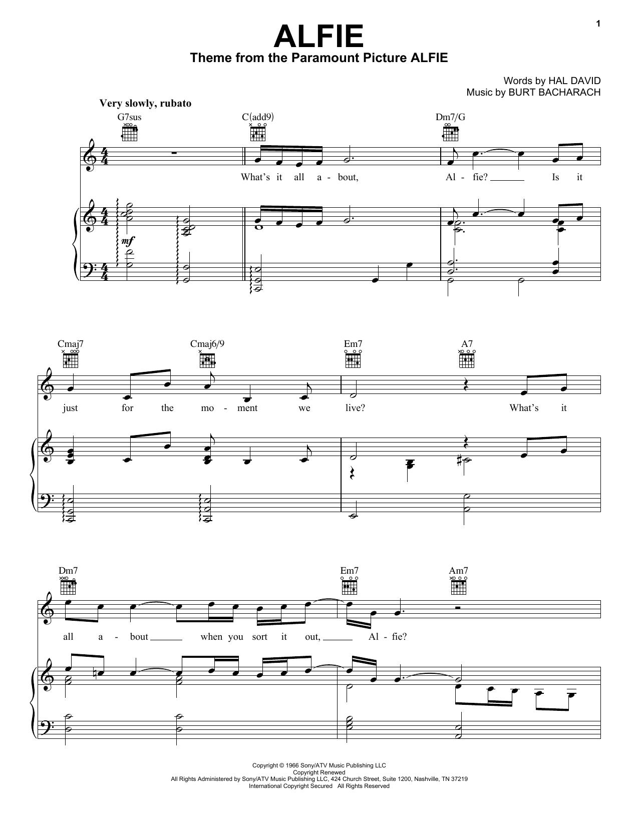 Bacharach & David Alfie sheet music notes and chords