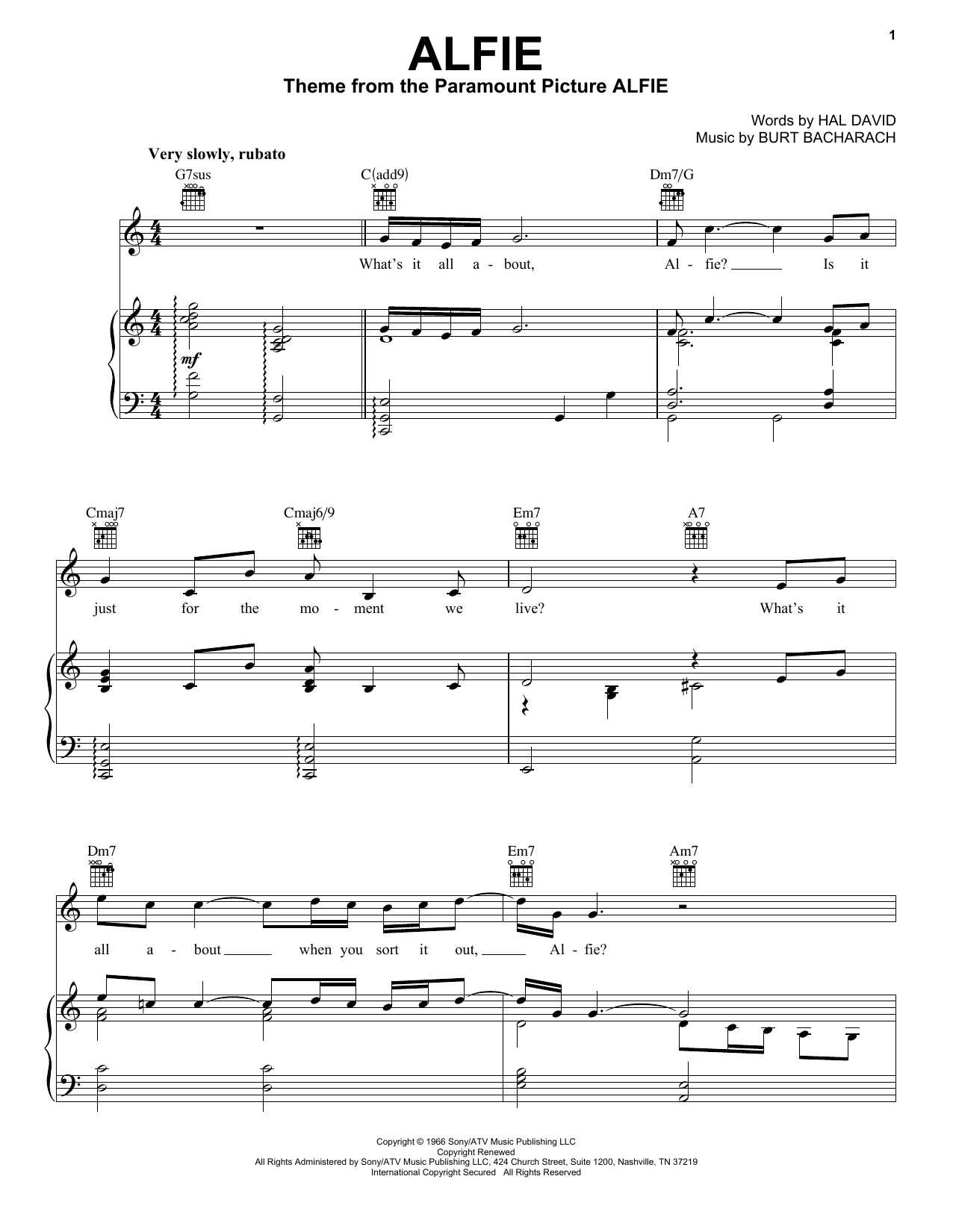 Bacharach & David Alfie sheet music preview music notes and score for Piano, Vocal & Guitar (Right-Hand Melody) including 4 page(s)