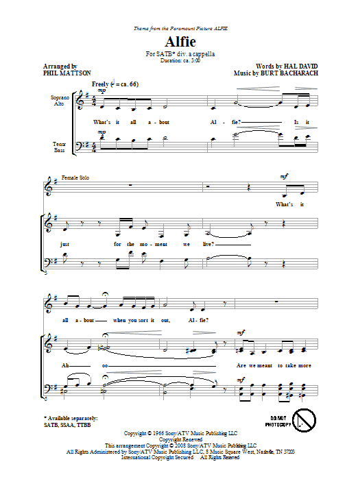 Bacharach & David Alfie (arr. Phil Mattson) sheet music preview music notes and score for SATB including 5 page(s)