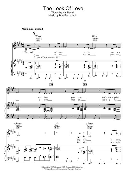 Download Bacharach & David 'The Look Of Love' Digital Sheet Music Notes & Chords and start playing in minutes
