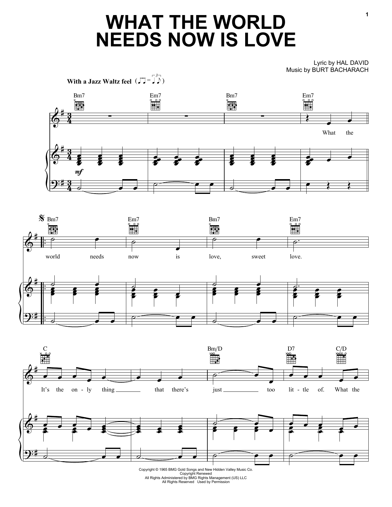 Bacharach & David What The World Needs Now Is Love sheet music preview music notes and score for Piano, Vocal & Guitar (Right-Hand Melody) including 3 page(s)