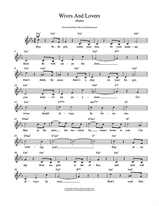 Download Bacharach & David 'Wives And Lovers (Hey, Little Girl)' Digital Sheet Music Notes & Chords and start playing in minutes