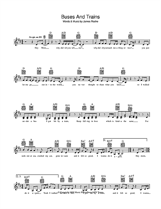 Bachelor Girl Buses And Trains sheet music preview music notes and score for Melody Line, Lyrics & Chords including 2 page(s)