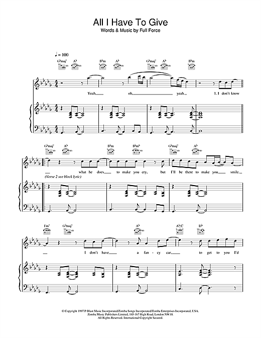 Backstreet Boys All I Have To Give sheet music notes and chords