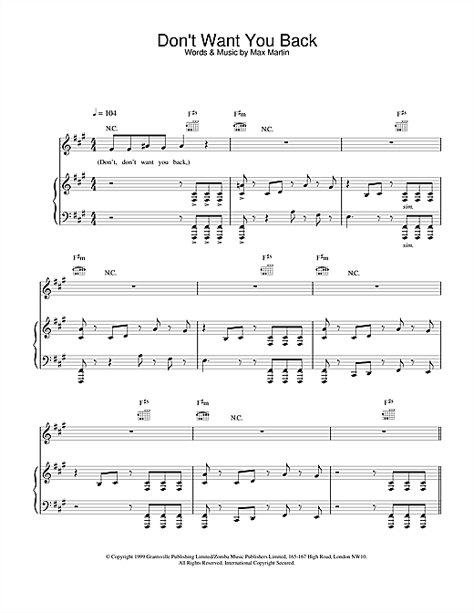 Backstreet Boys Don't Want You Back sheet music notes and chords