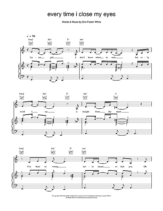 Backstreet Boys Every Time I Close My Eyes sheet music notes and chords