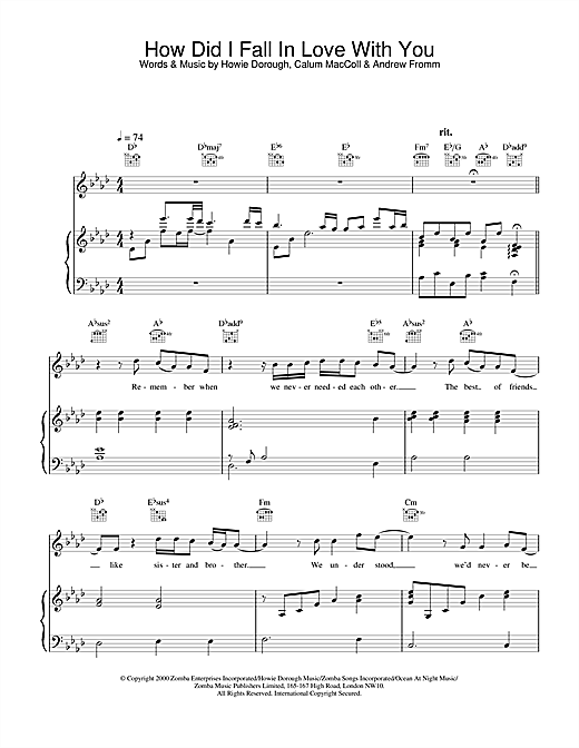 Backstreet Boys How Did I Fall In Love With You sheet music notes and chords