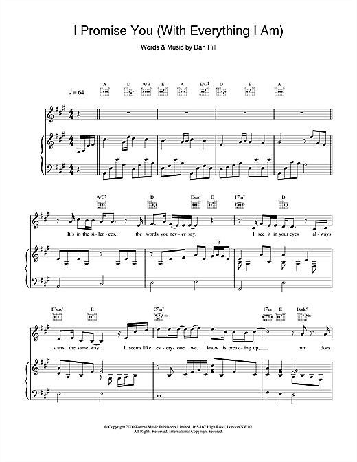 Backstreet Boys I Promise You sheet music notes and chords