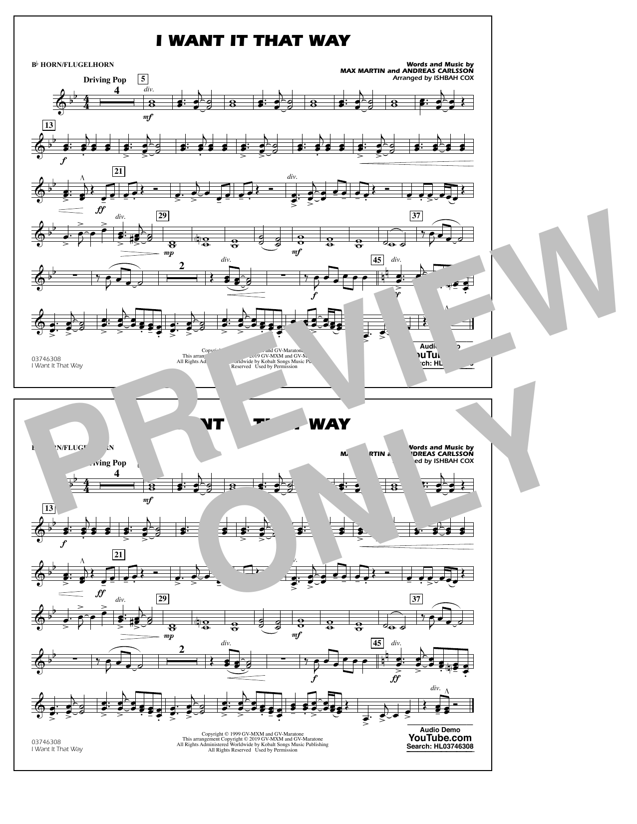 Backstreet Boys I Want It That Way (arr. Ishbah Cox) - Bb Horn/Flugelhorn sheet music preview music notes and score for Marching Band including 1 page(s)