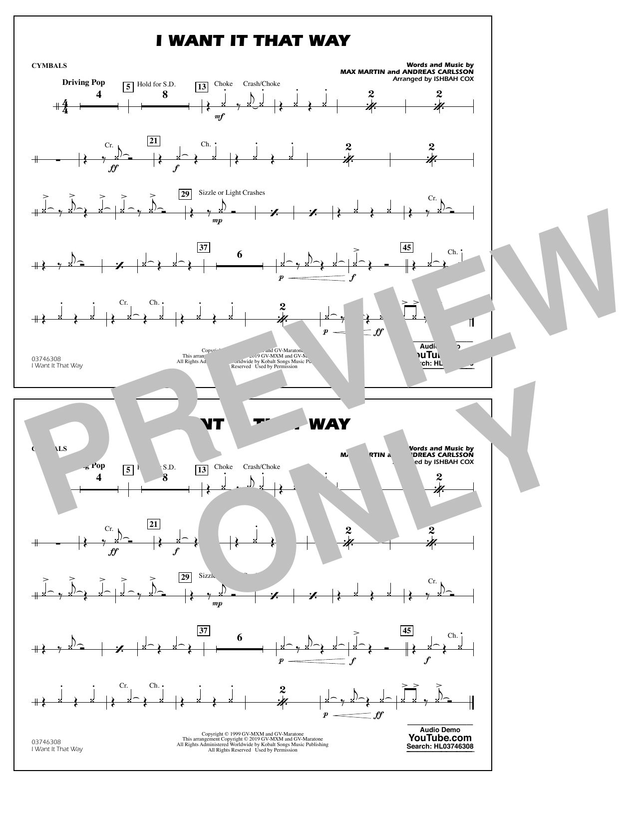 Backstreet Boys I Want It That Way (arr. Ishbah Cox) - Cymbals sheet music preview music notes and score for Marching Band including 1 page(s)