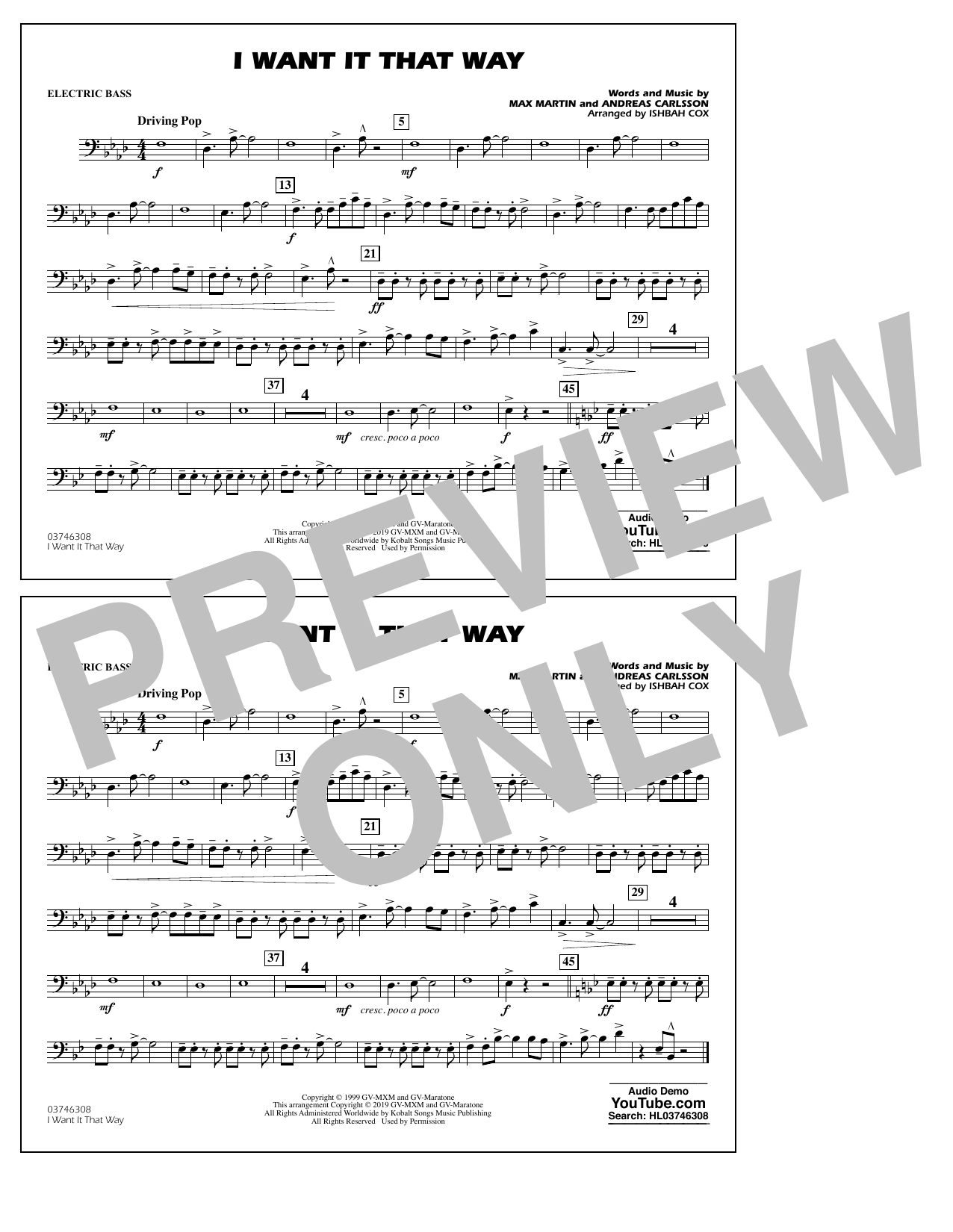Backstreet Boys I Want It That Way (arr. Ishbah Cox) - Electric Bass sheet music preview music notes and score for Marching Band including 1 page(s)