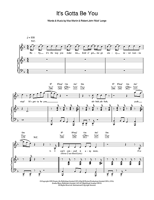 Backstreet Boys It's Gotta Be You sheet music notes and chords