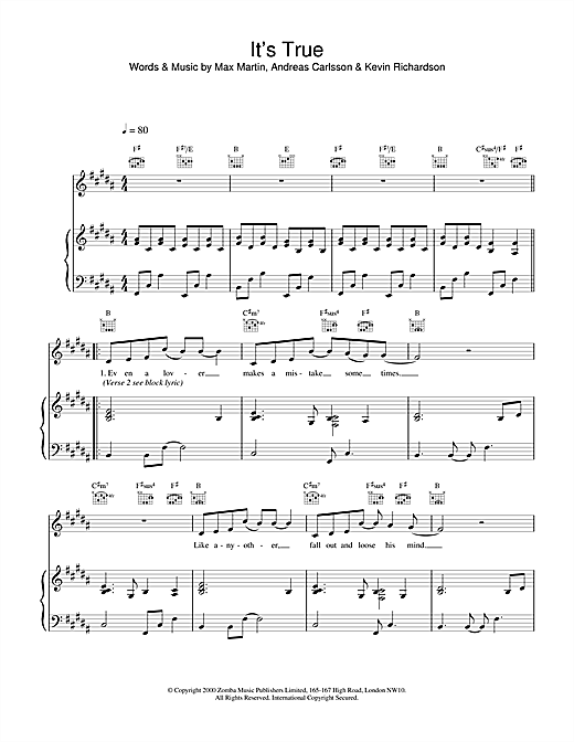 Backstreet Boys It's True sheet music notes and chords