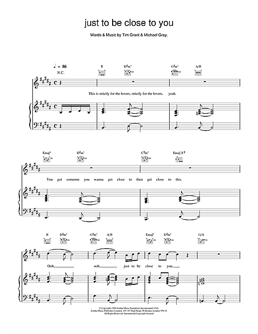 Backstreet Boys Just To Be Close To You sheet music notes and chords