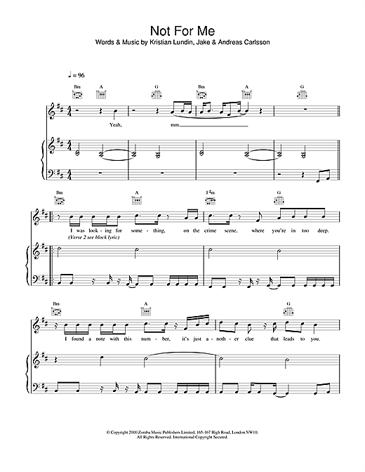 Backstreet Boys Not For Me sheet music notes and chords