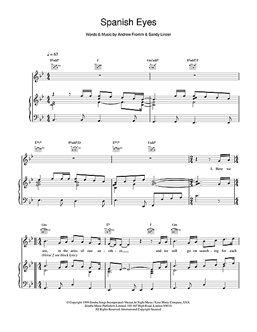 Backstreet Boys Spanish Eyes sheet music notes and chords