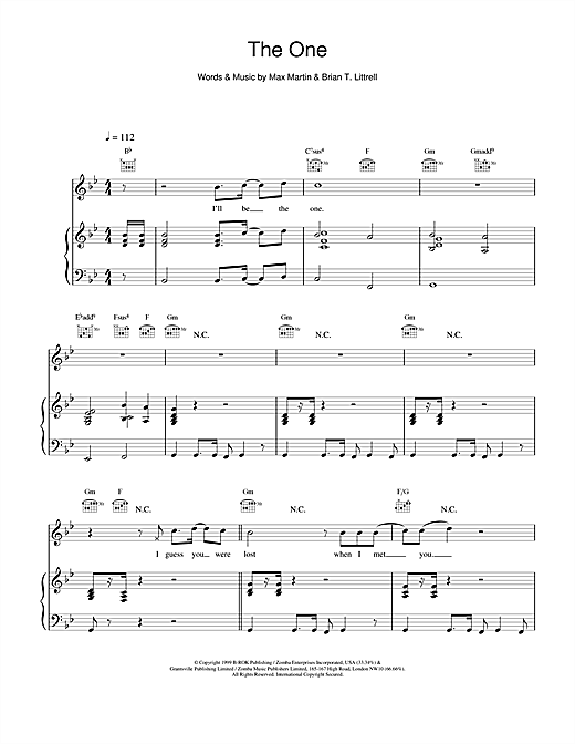 Backstreet Boys The One sheet music notes and chords