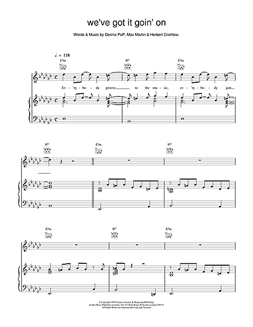 Backstreet Boys We've Got It Goin' On sheet music notes and chords