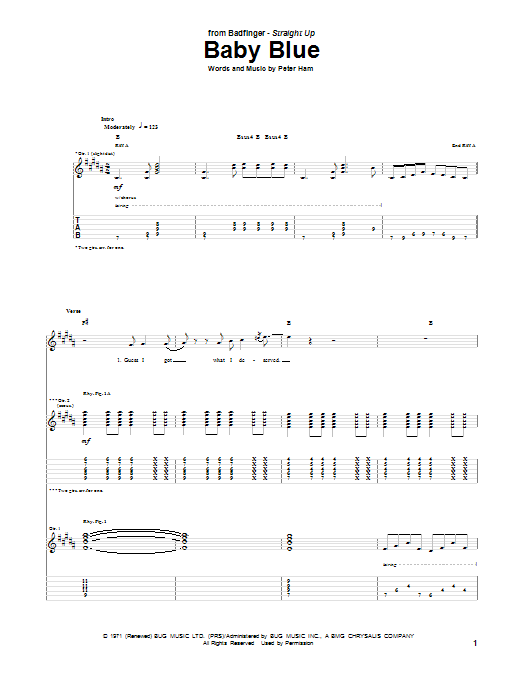 Badfinger Baby Blue sheet music preview music notes and score for E-Z Play Today including 4 page(s)