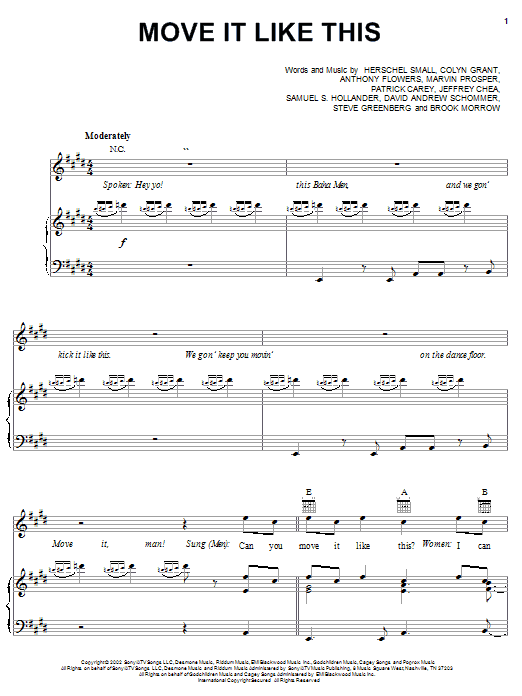 Baha Men Move It Like This sheet music notes and chords