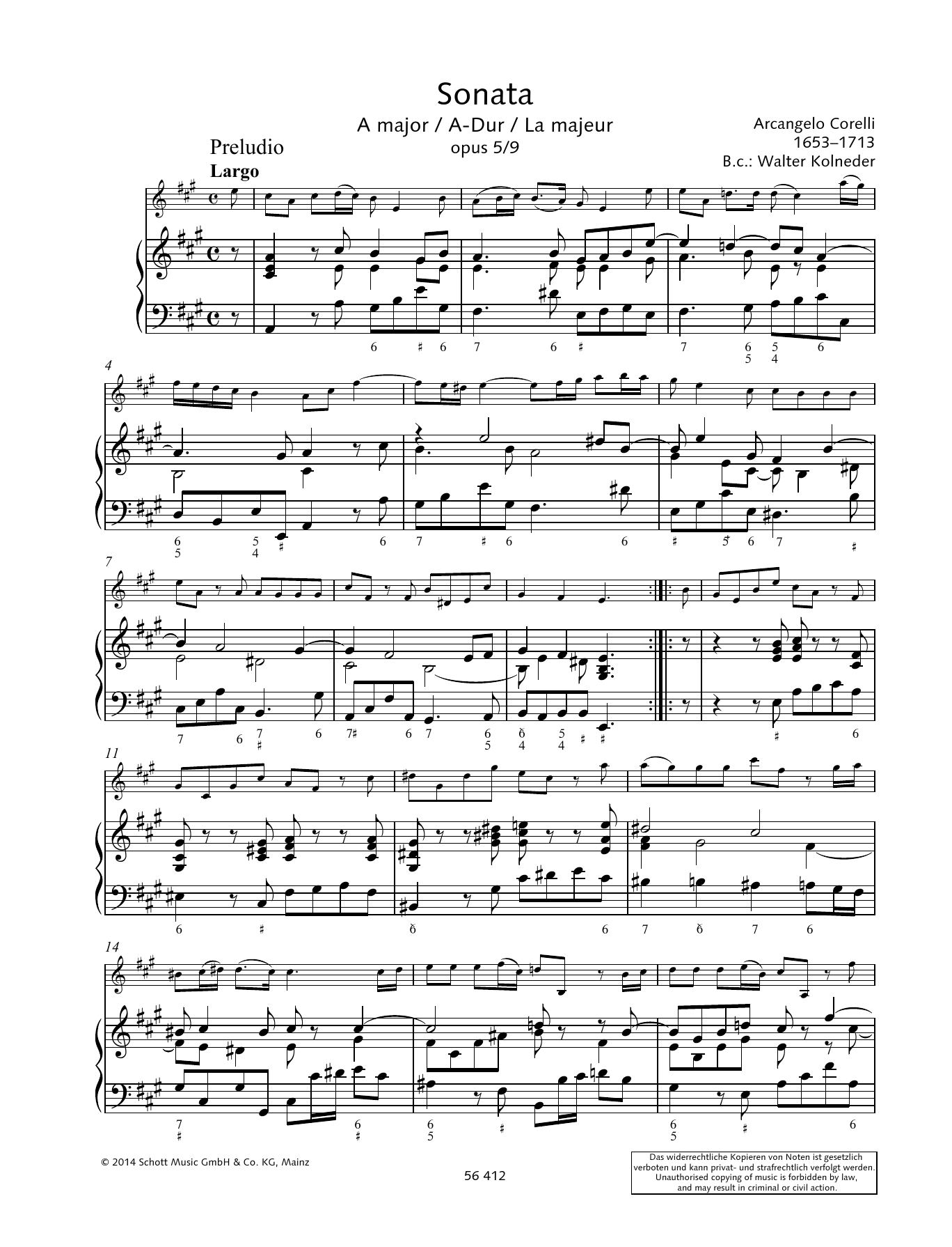 Baldassare Galuppi Sonata A Major sheet music preview music notes and score for String Solo including 11 page(s)