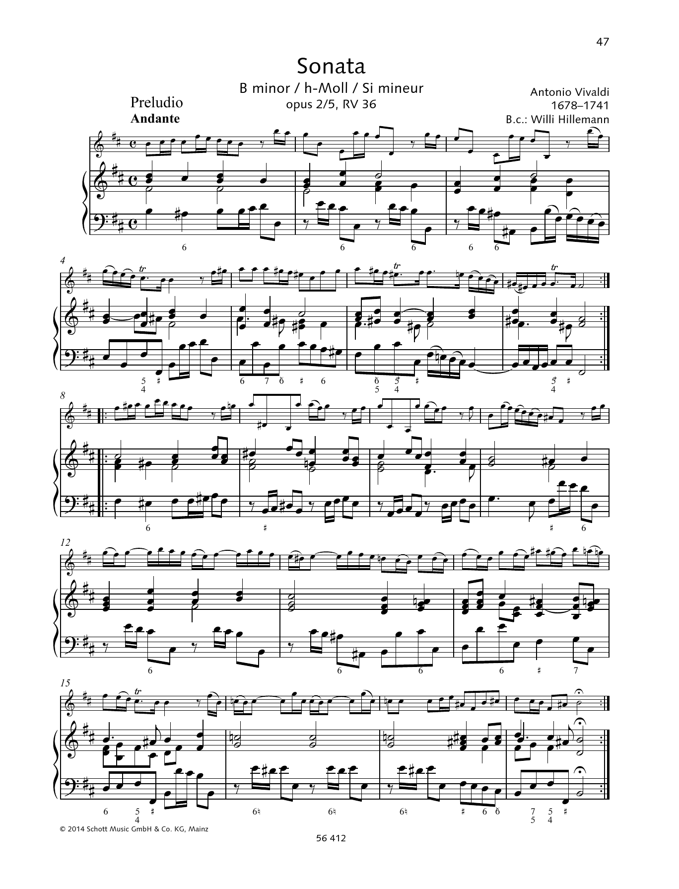 Baldassare Galuppi Sonata B Minor sheet music preview music notes and score for String Solo including 6 page(s)