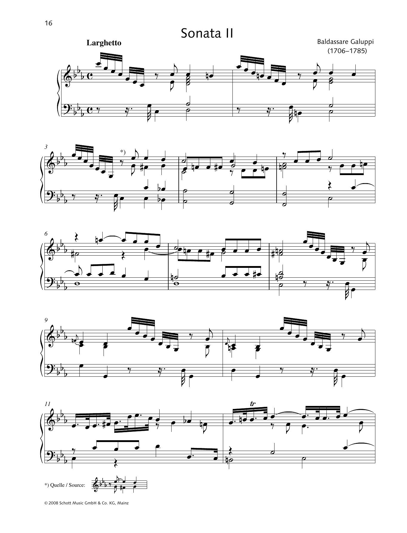 Baldassare Galuppi Sonata II C minor sheet music preview music notes and score for Piano Solo including 10 page(s)