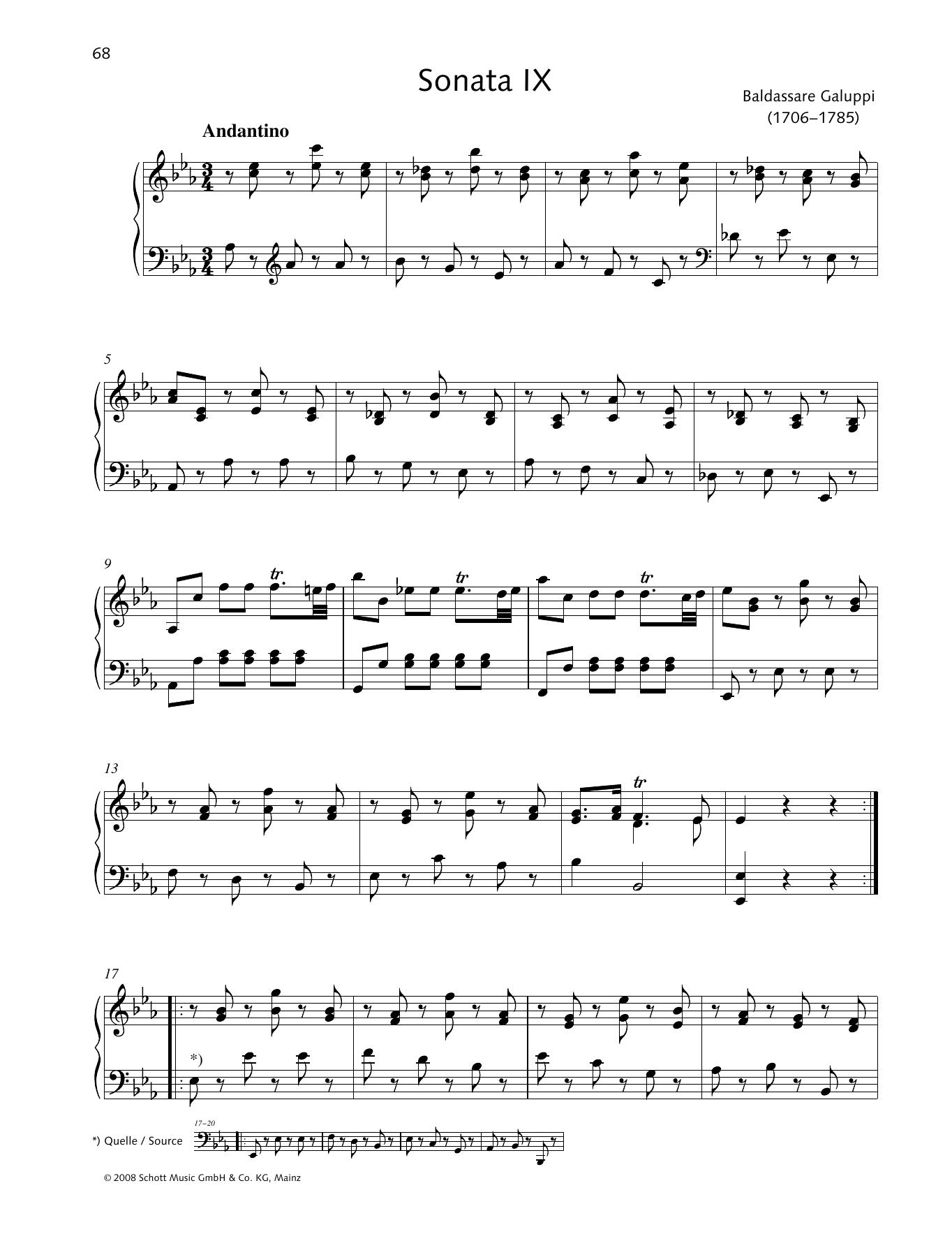 Baldassare Galuppi Sonata IX E-flat major sheet music preview music notes and score for Piano Solo including 6 page(s)
