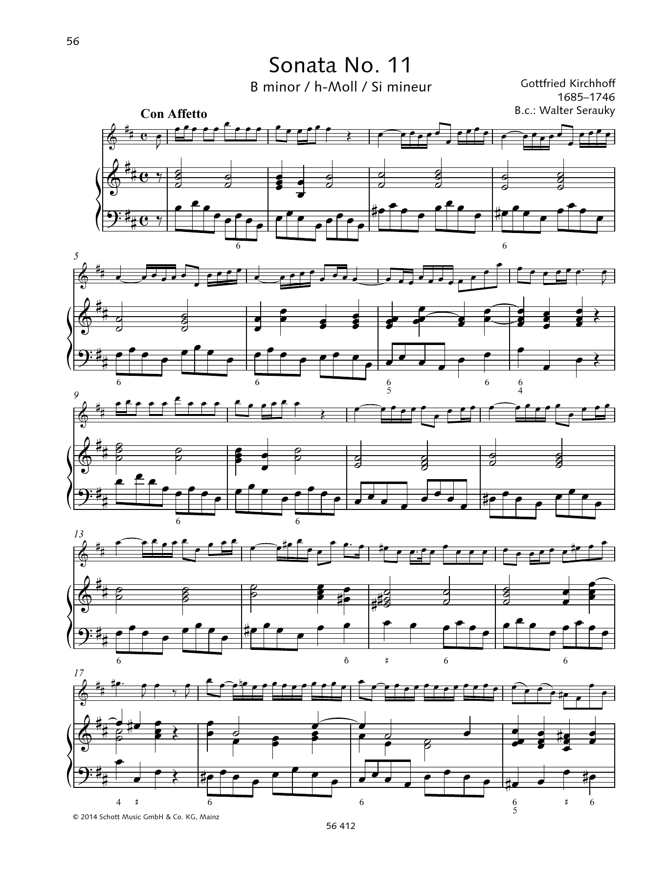Baldassare Galuppi Sonata No. 11 B minor sheet music preview music notes and score for String Solo including 11 page(s)