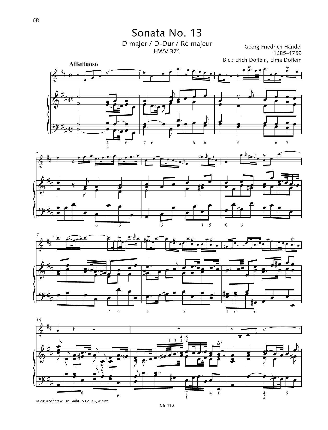 Baldassare Galuppi Sonata No. 13 D major sheet music preview music notes and score for String Solo including 19 page(s)