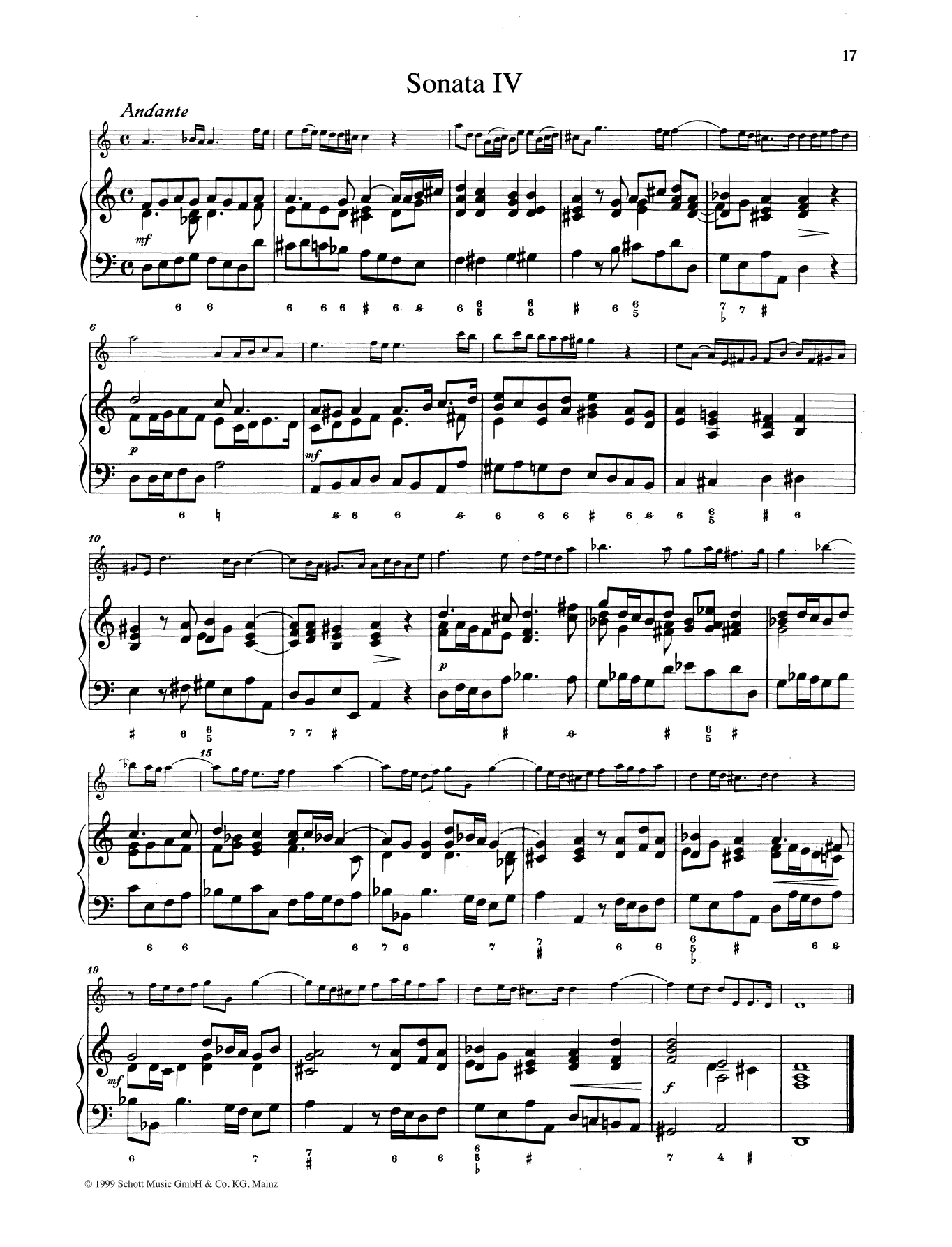 Baldassare Galuppi Sonata No. 4 sheet music preview music notes and score for String Solo including 8 page(s)
