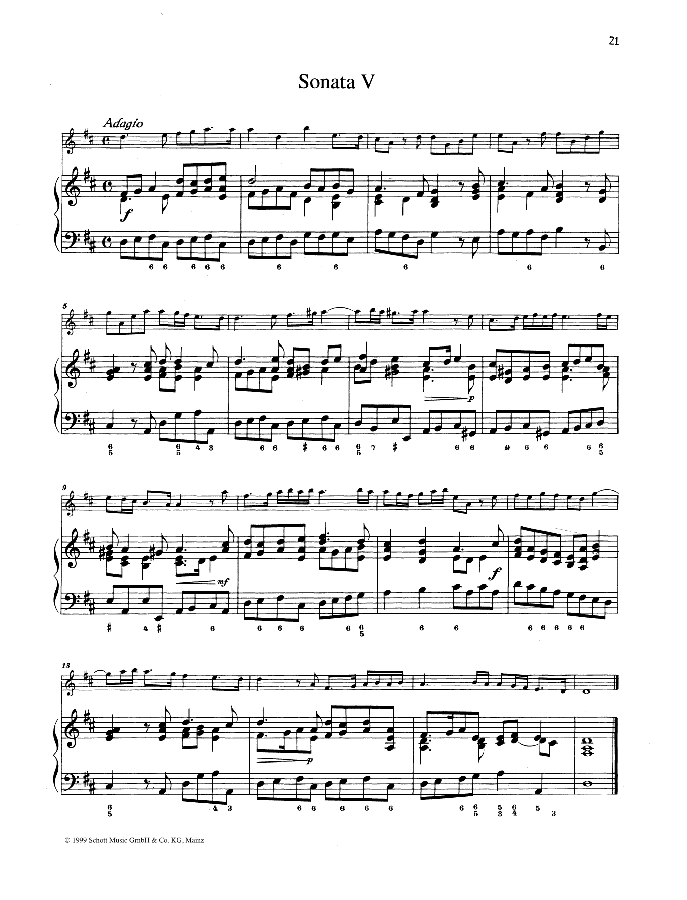Baldassare Galuppi Sonata No. 5 sheet music preview music notes and score for String Solo including 9 page(s)