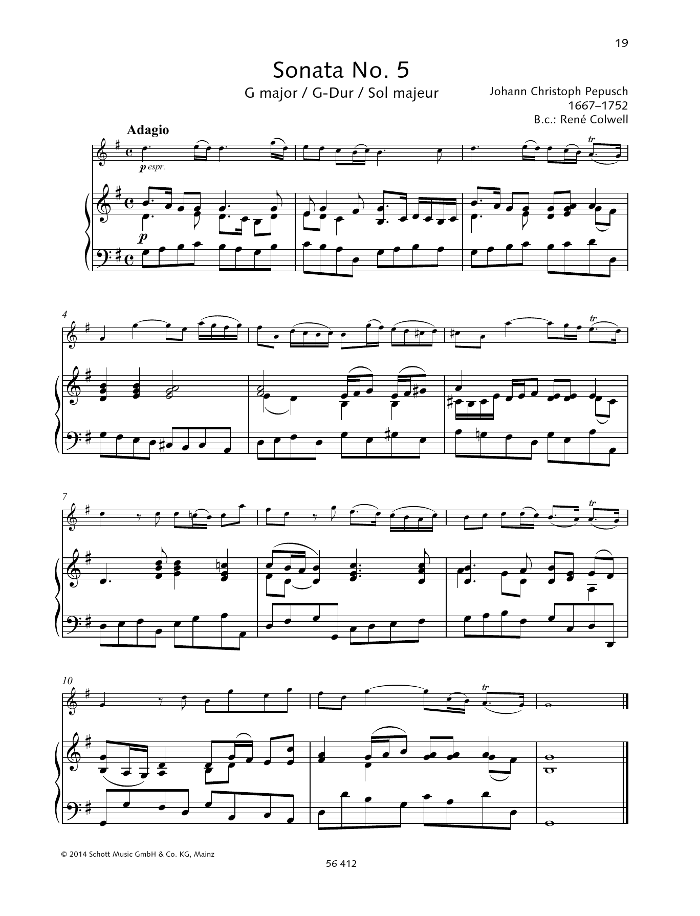 Baldassare Galuppi Sonata No. 5 G major sheet music preview music notes and score for String Solo including 6 page(s)