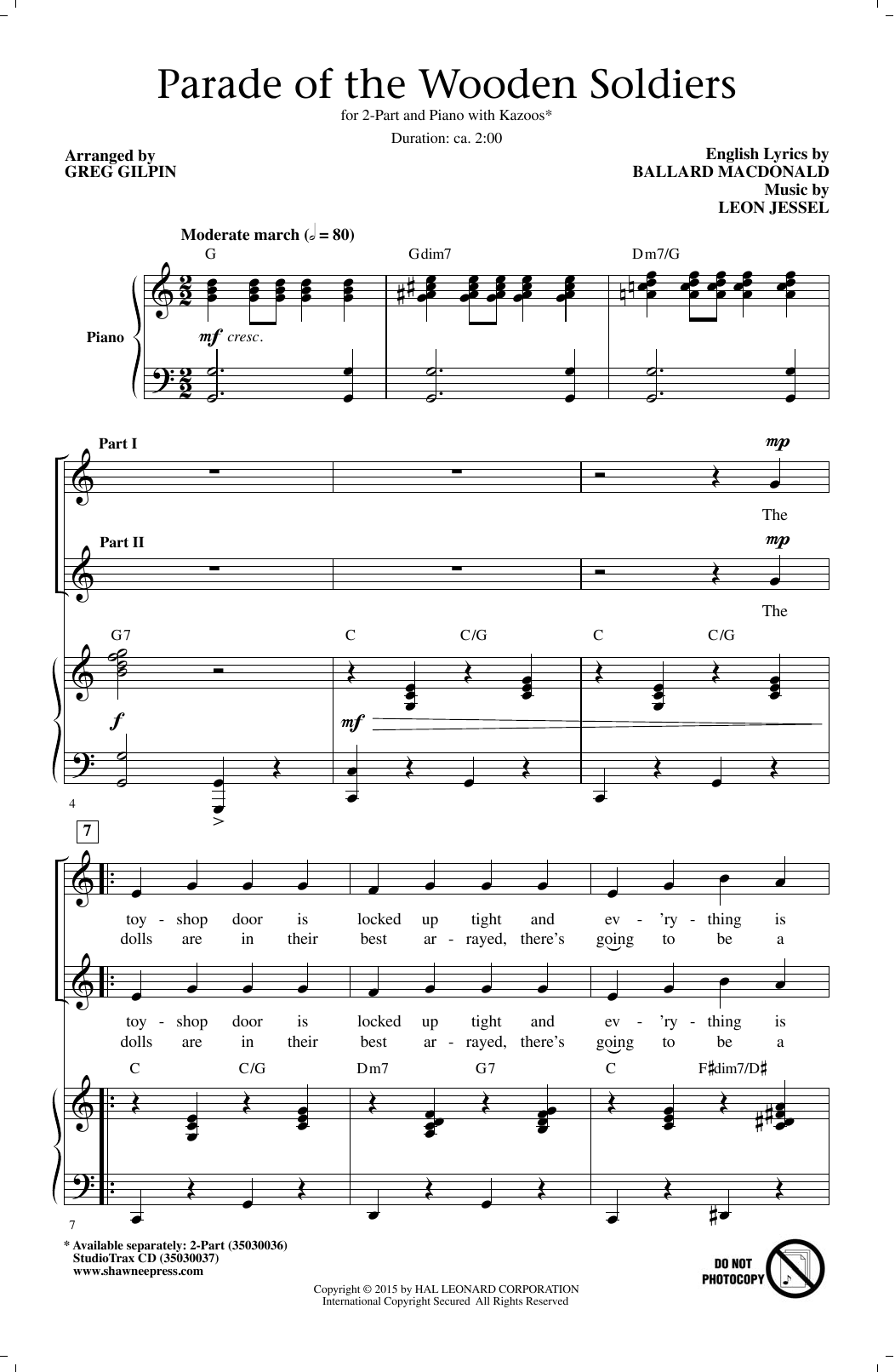 Download Greg Gilpin 'Parade Of The Wooden Soldiers' Digital Sheet Music Notes & Chords and start playing in minutes