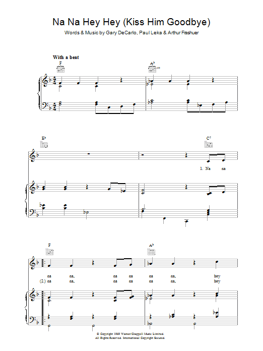Bananarama Na Na Hey Hey Kiss Him Goodbye sheet music preview music notes and score for Piano, Vocal & Guitar (Right-Hand Melody) including 4 page(s)