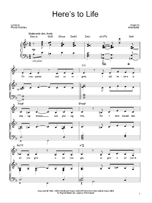 Barbra Streisand Here's To Life sheet music notes and chords