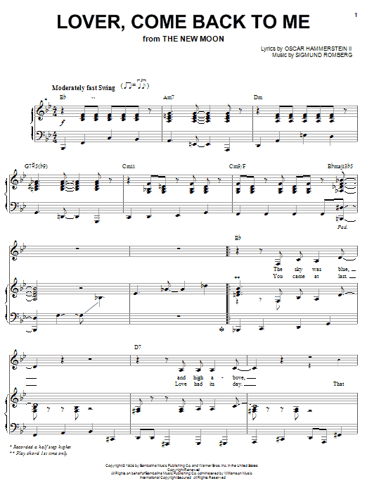Barbra Streisand Lover, Come Back To Me sheet music preview music notes and score for Piano, Vocal & Guitar (Right-Hand Melody) including 7 page(s)