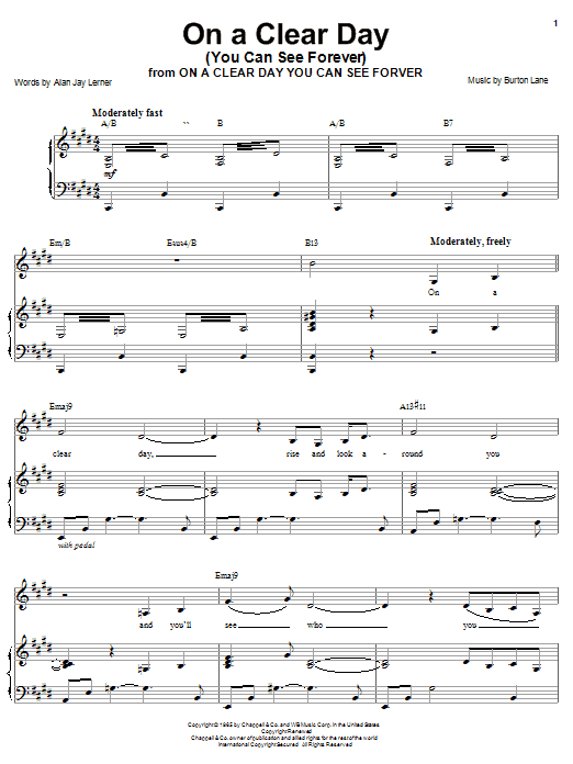 Barbra Streisand On A Clear Day (You Can See Forever) sheet music preview music notes and score for Piano, Vocal & Guitar (Right-Hand Melody) including 4 page(s)
