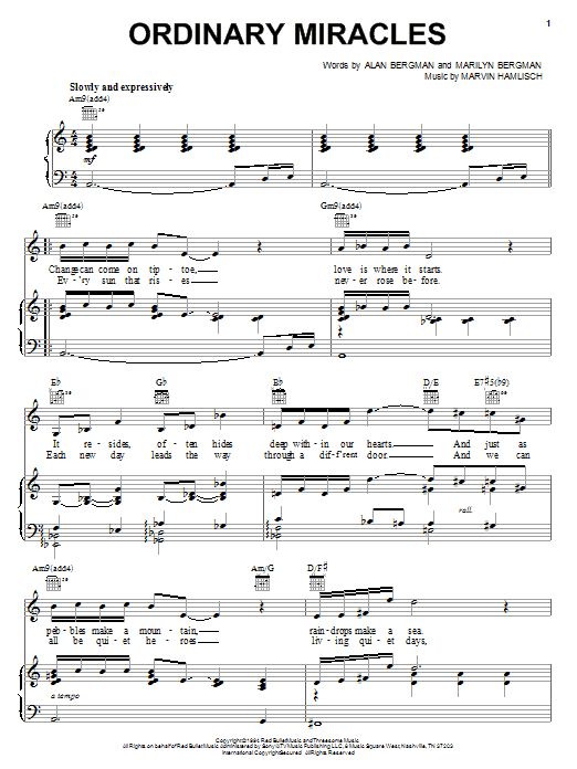 Barbra Streisand Ordinary Miracles sheet music notes and chords