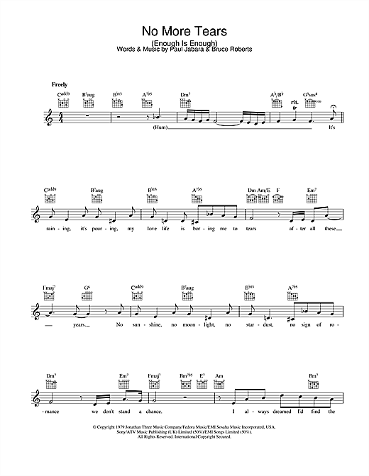 Barbra Streisand & Donna Summer No More Tears (Enough Is Enough) sheet music preview music notes and score for Melody Line, Lyrics & Chords including 5 page(s)