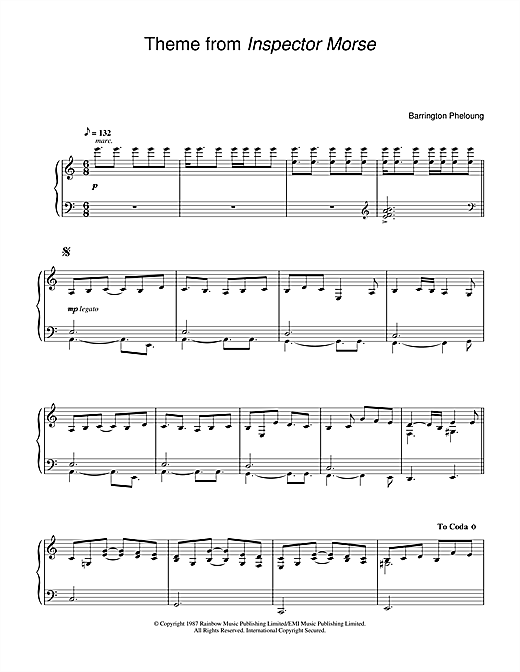 Barrington Pheloung Theme from Inspector Morse sheet music notes and chords