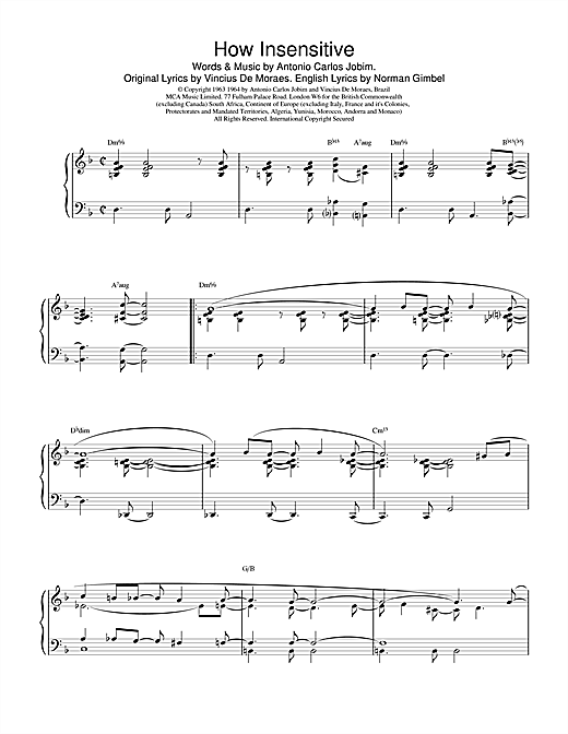 Download Barry Harris 'How Insensitive' Digital Sheet Music Notes & Chords and start playing in minutes