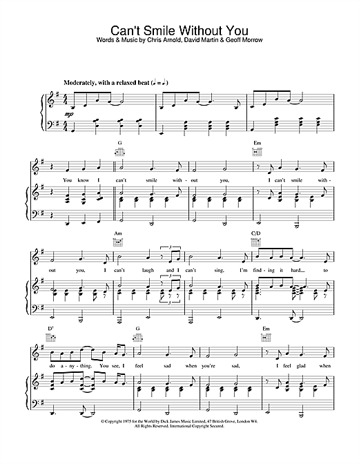Download Barry Manilow 'Can't Smile Without You' Digital Sheet Music Notes & Chords and start playing in minutes