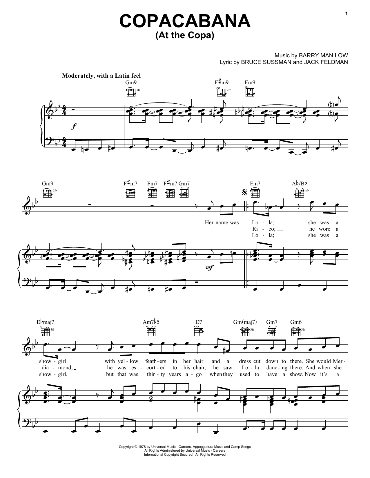 Barry Manilow Copacabana (At The Copa) sheet music preview music notes and score for Piano, Vocal & Guitar (Right-Hand Melody) including 7 page(s)